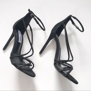 Steve Madden Black suede Strapped Heeled Sandals